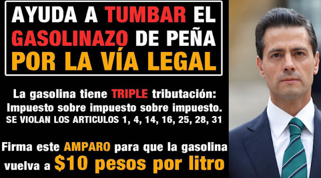 Amparo legal para revocar el gasolinazo de Enrique Peña Nieto