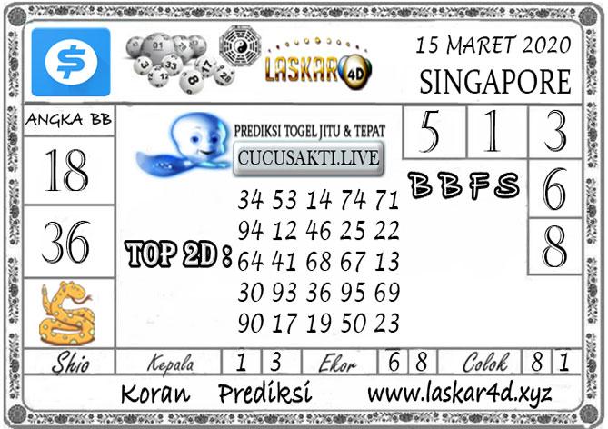 Prediksi Togel SINGAPORE LASKAR4D 15 MARET 2020