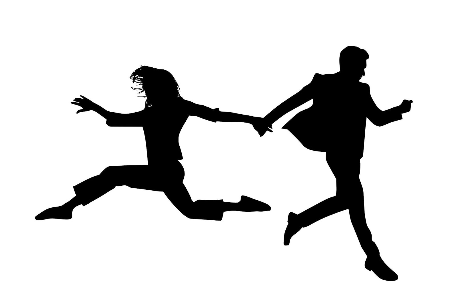 Illustration of relationship conflict silhouette