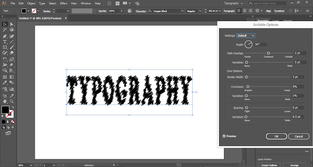 Scribble text effect in Adobe Illustrator