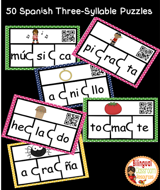 Spanish Three-Syllable Puzzles. Rompecabezas de palabras de tres sílabas