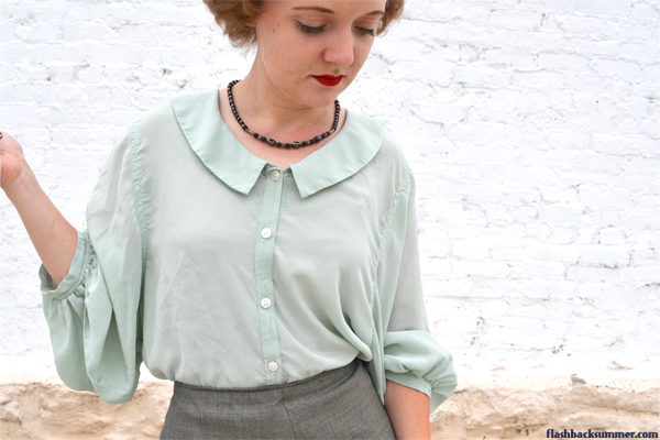 Flashback Summer: Trying Out Thred Up - vintage sea foam silk blouse