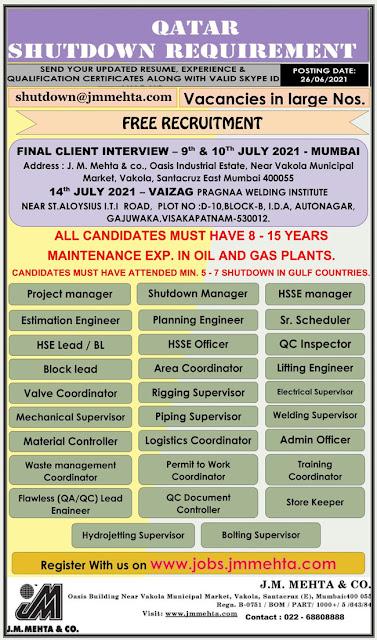 Qatar Jobs, Oil & Gas Jobs, Shutdown Jobs, HSE Officer, Planning Engineer, QC Inspector, Material Controller, J M Mehta & Co, Shell Qatar QCon Shutdown Job
