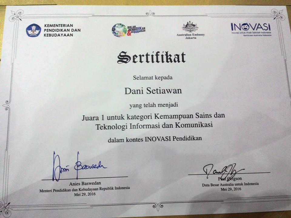 Sertifikat Peraih Juara 1 Kontes Inovasi Pendidikan 2016