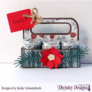 Stamp/Die Duos: Bless this Baby, Custom Dies: Candy Carrier, Peaceful Poinsettia, Pine Branches, Paper Collection: Christmas 2017