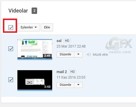 youtube Eylemler kutusu - www.ceofix.com