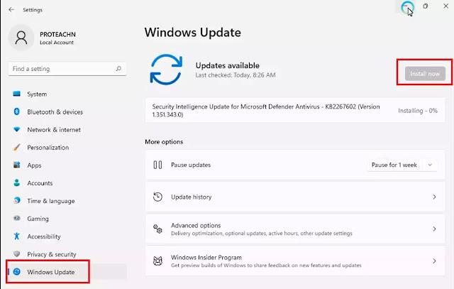 تحديث تعريفات windows 11