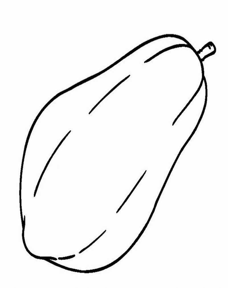 Gambar Buah buahan pepaya Untuk Diwarnai