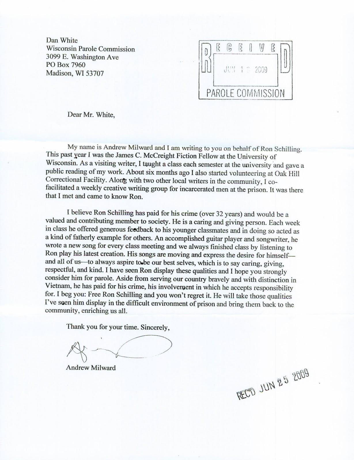 parole recommendation letter sample