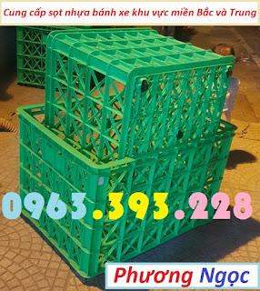 Sóng nhựa hở 8 bánh xe, sọt nhựa rỗng HS022, sọt rỗng công nghiệp 8 bánh 8bx5