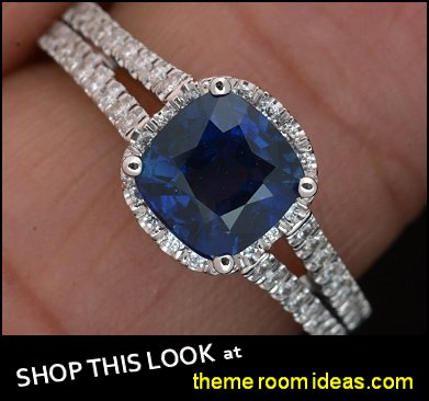 Platinum Cushion Cut Halo Blue Sapphire and Diamond Engagement Ring