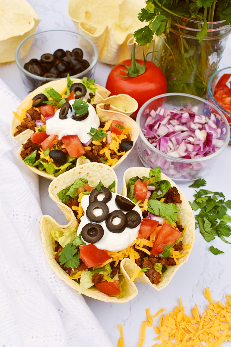 Taco Salad with Baked Tortilla Bowls