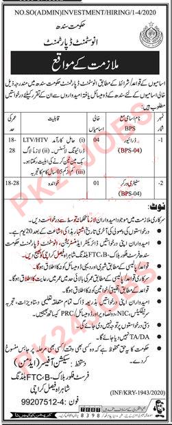 Investment Department Karachi Jobs 2020