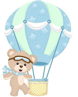 Baby Bear Flying in Balloon Free Printable Cake Toppers.