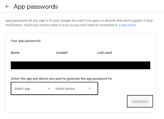 Generate a new App password for FreeNAS and copy it to the clipboard.