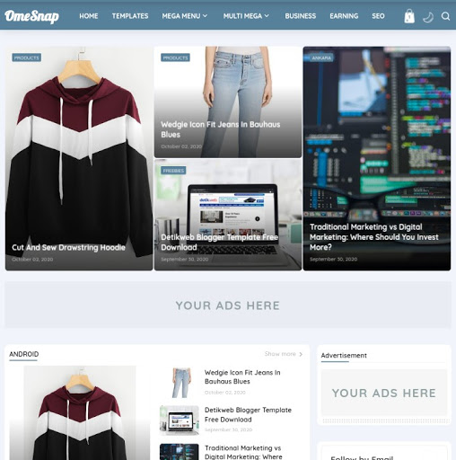 Hartomy v4 Omesnap Blogger Template Free Download