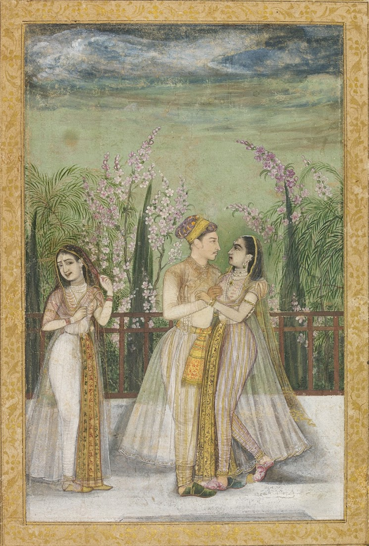 A Prince and his Mistress in an Embrace - Mughal Painting, India, c. 1640