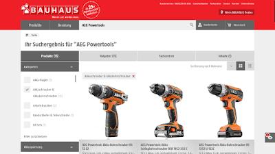 Produktübersicher AEG Powertools bei Bauhaus