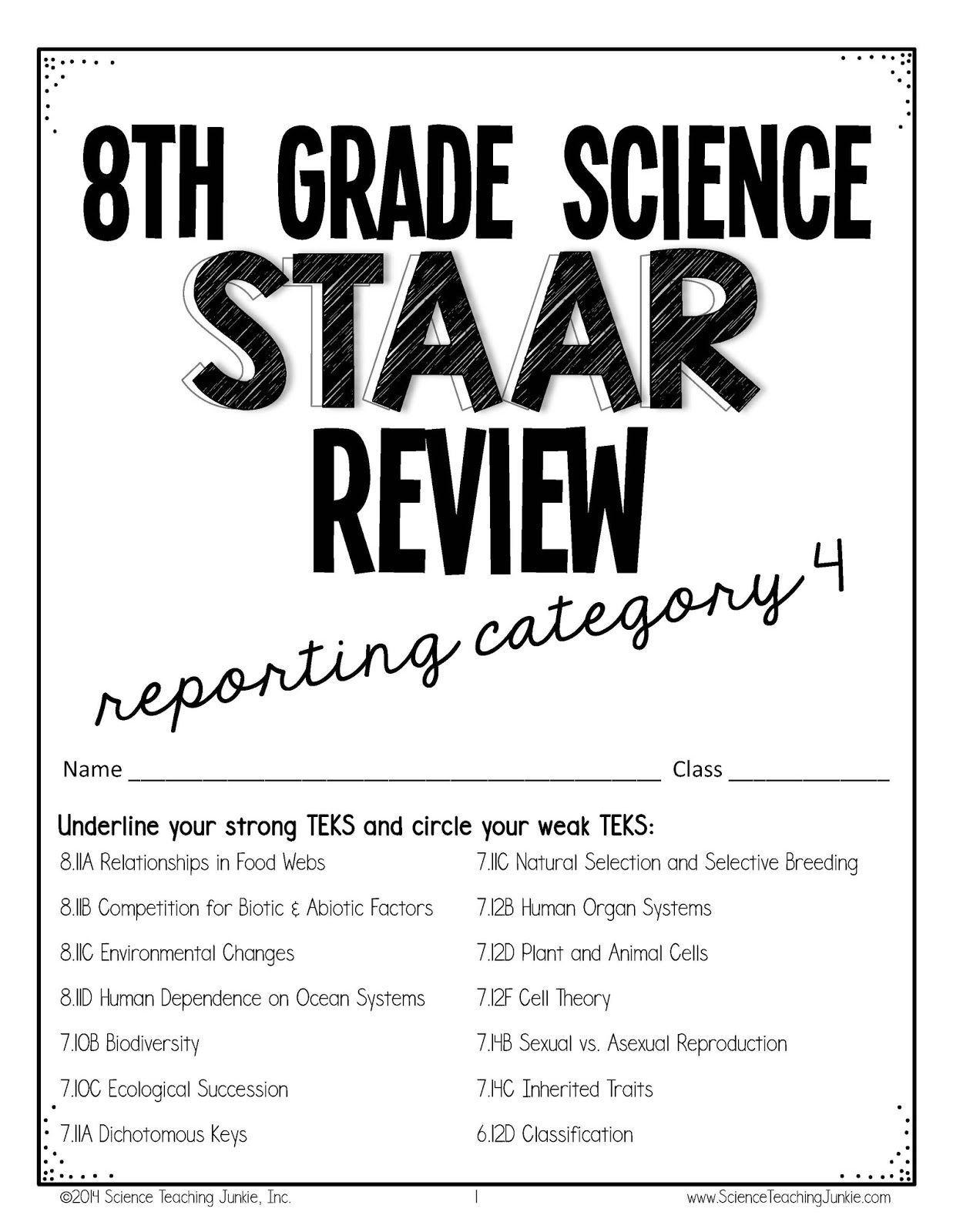 Science Teaching Junkie, Inc.: 8th grade Science STAAR Review