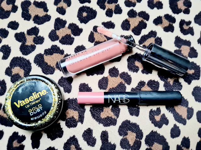 Soft glam natural pouty lips with Nars Velvet Matte Lip Pencil, Beauty Pie Collagen Lip Oil and Vaseline Lip Therapy