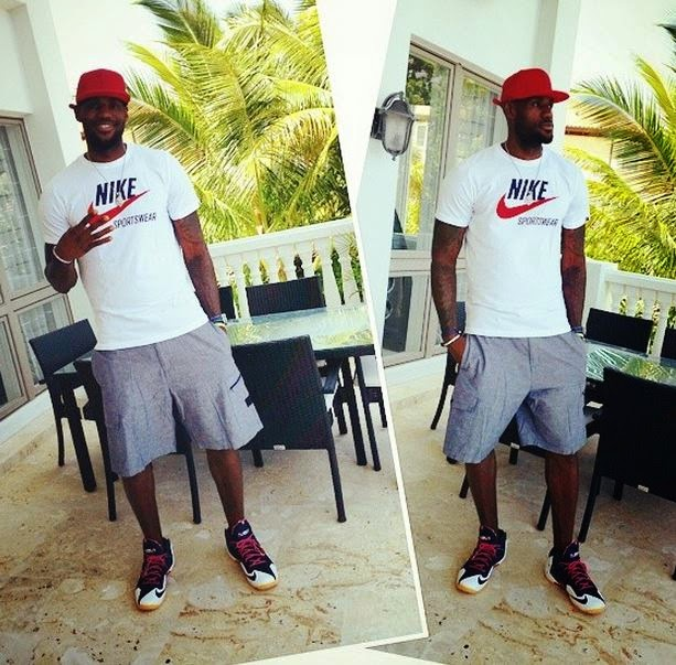 super popular a3d38 2a704 LeBron James Wearing His Nike LeBron 11  July 4th  Sneakers