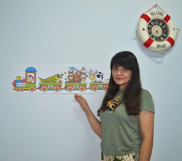ABC train - classroom wall decoration banner for elementary school and kindergarten