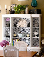 Open shelves dining hutch idea
