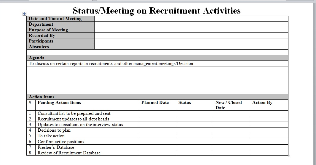 Recruitment process report for Recruitment action plan template