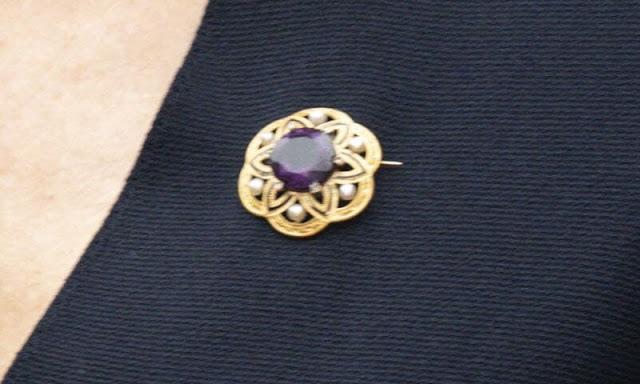 Mary's Gold diamond ruby brooch