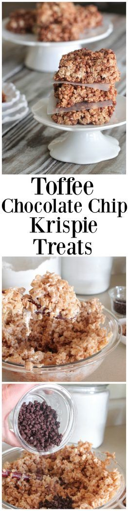 Toffee Chocolate Chip Krispie Treats