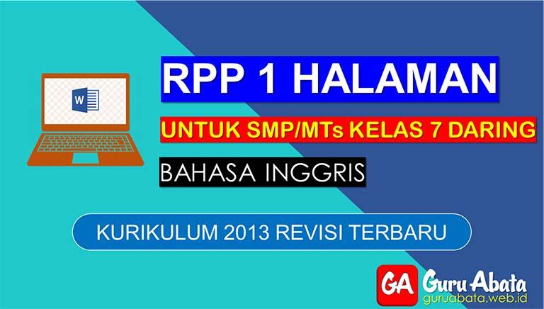 Contoh RPP Daring Bahasa Inggris Untuk SMP Kelas 7 Semester 2