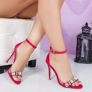 Sandale Mabiso roz cu toc de ocazii elegante cu cristale