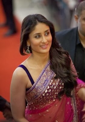 Pink net saree Kareena Kapoor