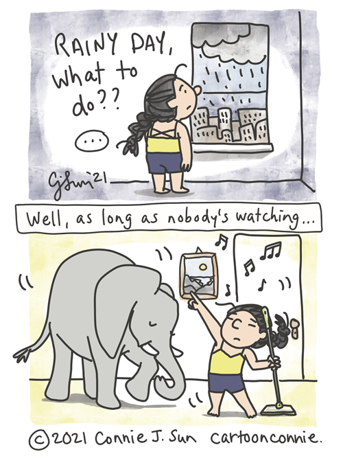 """Two-panel slice-of-life comic of an introverted girl with a braid, at home, staring out the window overlooking a cityscape and heavy rain clouds, captioned """"Rainy day, what to do?"""" Panel 2, girl dancing to music in underwear with a Swiffer mop and with Elephant also getting down. Captioned, """"Well, as long as nobody's looking."""" Comic drawing by Connie Sun, cartoonconnie"""