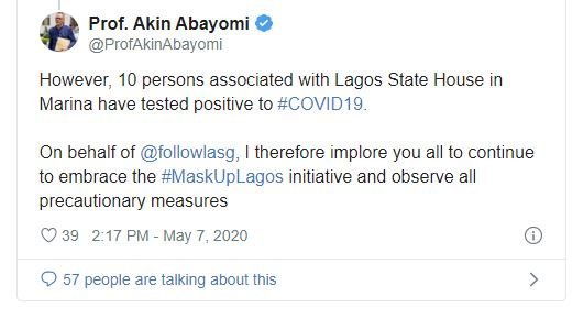 10 test positive for COVID-19 at Lagos Govt House