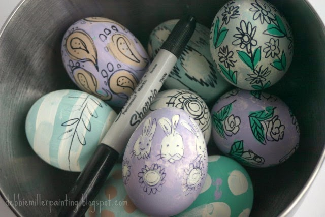 pastel paint and black sharpie marker Easter eggs,