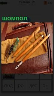 На портфеле лежат ершики и несколько видов шомпол для чистки оружия
