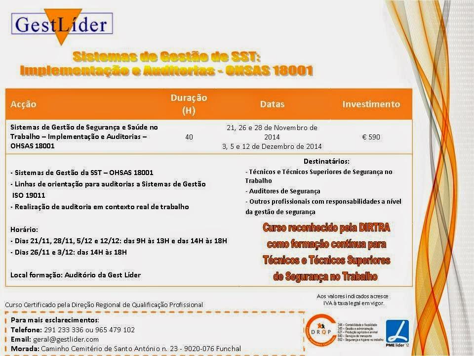 Curso de Sistemas de Gestão de SST: Implementação e Auditorias (OHSAS 18001) – Funchal