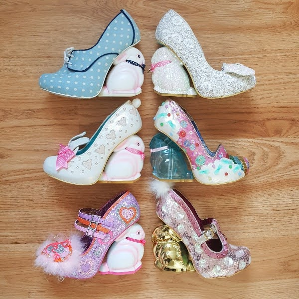 6 Irregular Choice shoes with different bunny shaped heels