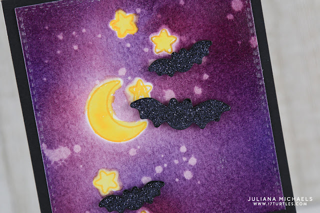 Die Cut Masking and Distress Ink Blending Spooky Night Scene Background by Juliana Michaels featuring Sunny Studio Halloween Cuties Stamps and Dies, Ranger Distress Ink and Zig Clean Color Real Brush Markers