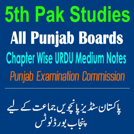 5th Class Pakistan Studies Notes