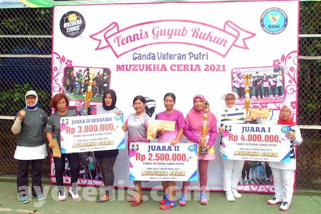 Tumbangkan Unggulan Teratas, AKBP Dewi Indarwati Juara Turnamen Tenis Muzukha Ceria