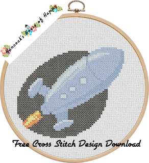 ultra-modern rocket space cross stitch pattern free to download