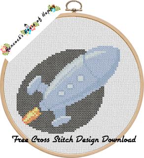ultra modern rocket free cross stitch pattern