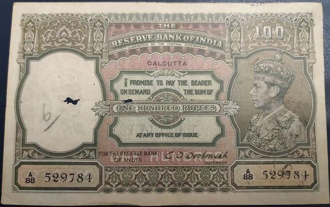 British India - 100 Rupees - George VI - C.D.Deshmukh
