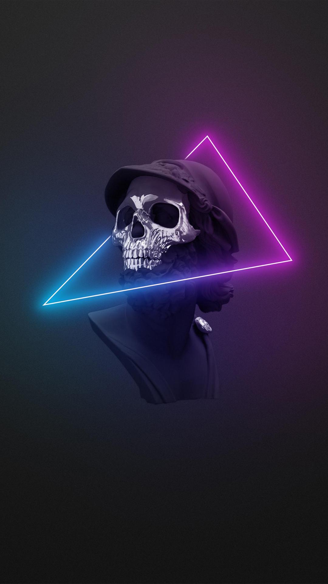 skull triangle neon mobile wallpaper