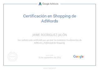 Certificado Jaime Rodríguez Jalón y Olea Google AdWords Shopping
