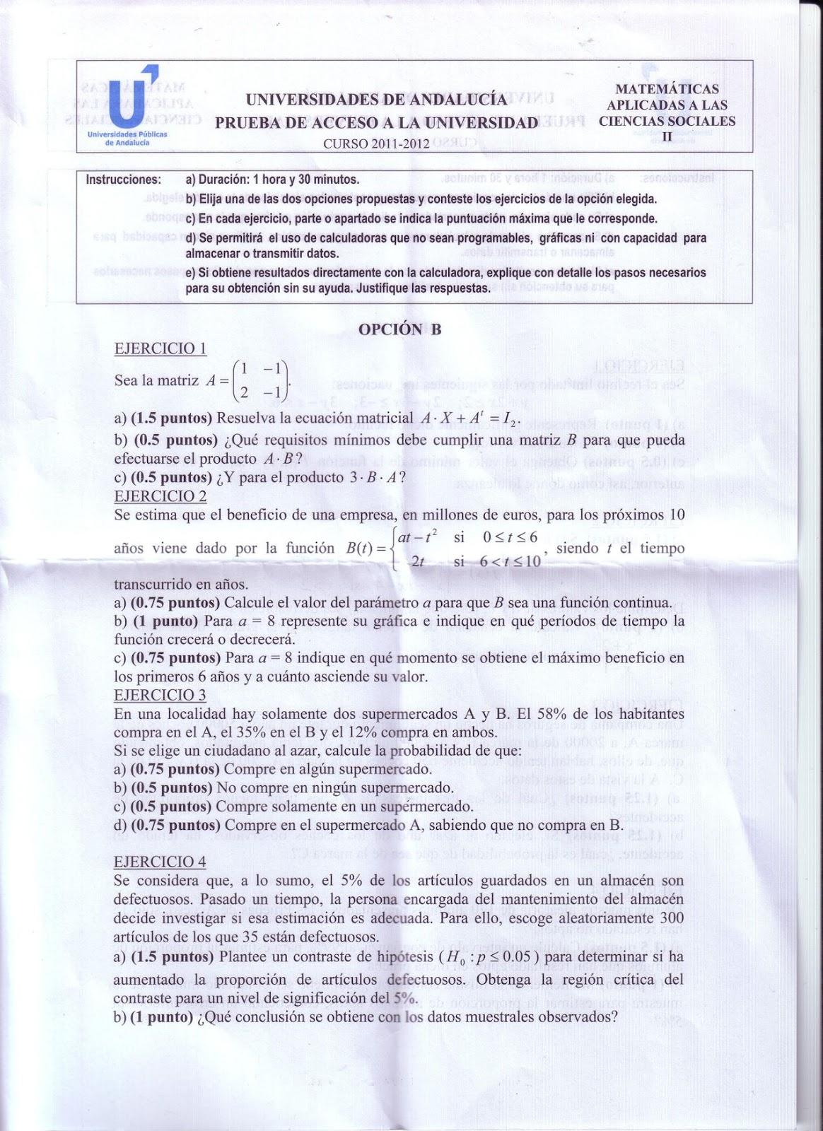 Clases Online De Matematicas Fisica Y Quimica Examen Resuelto Corregido Selectividad Matematicas Aplicadas A Las Ciencias Sociales Andalucia Junio Curso 2011 2012