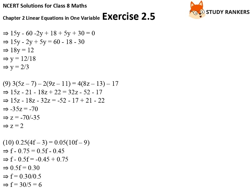 NCERT Solutions for Class 8 Maths Ch 2 Linear Equations in One Variable Exercise 2.5 3