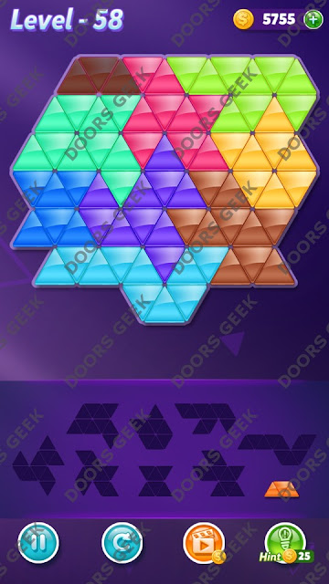 Block! Triangle Puzzle 9 Mania Level 58 Solution, Cheats, Walkthrough for Android, iPhone, iPad and iPod
